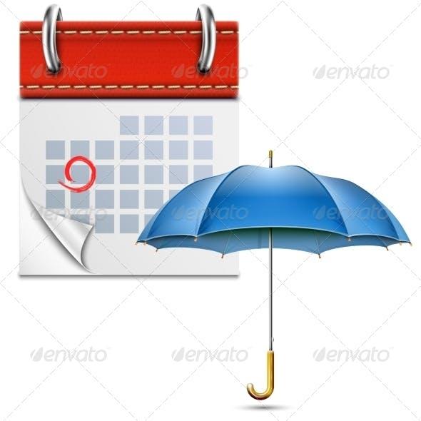 Loose-Leaf Calendar with Open Umbrella