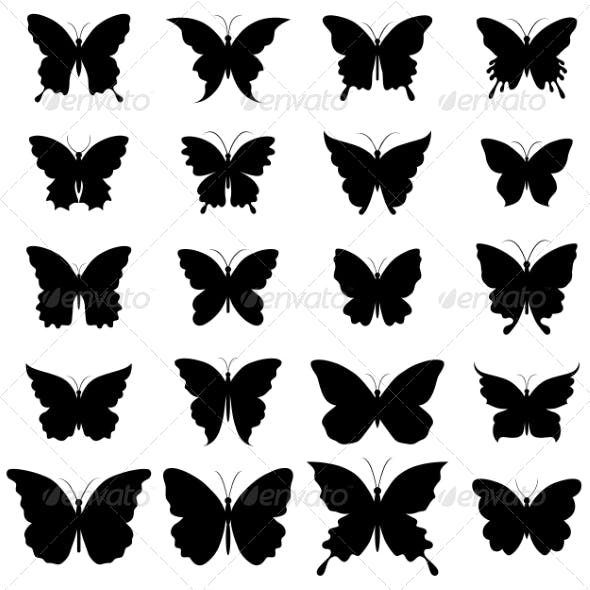 Set of Butterflies for Design