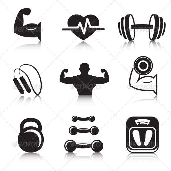 Fitness Bodybuilding Sport Icons Set