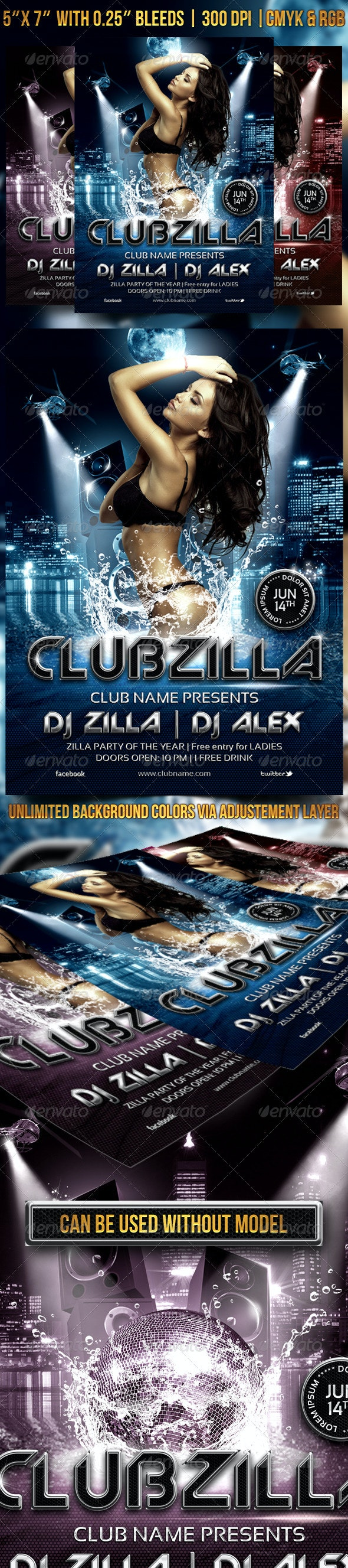 Clubzilla Party Flyer - Clubs & Parties Events