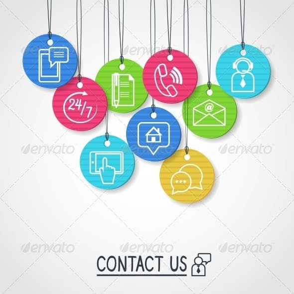 Contact Us Cardboard Labels and Tags Set