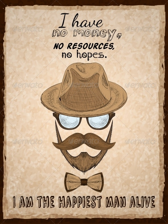 Hand Drawn Hipster Poster Print - Backgrounds Decorative