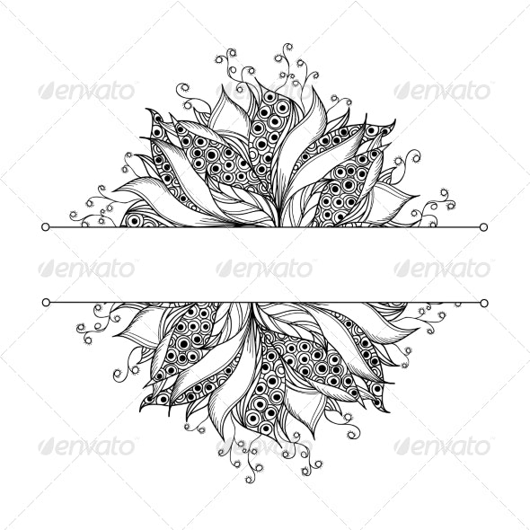 Card Template with Fantasy Black and White Flower - Patterns Decorative