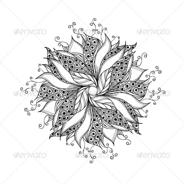 Fantasy Flower Black and White Tattoo Pattern