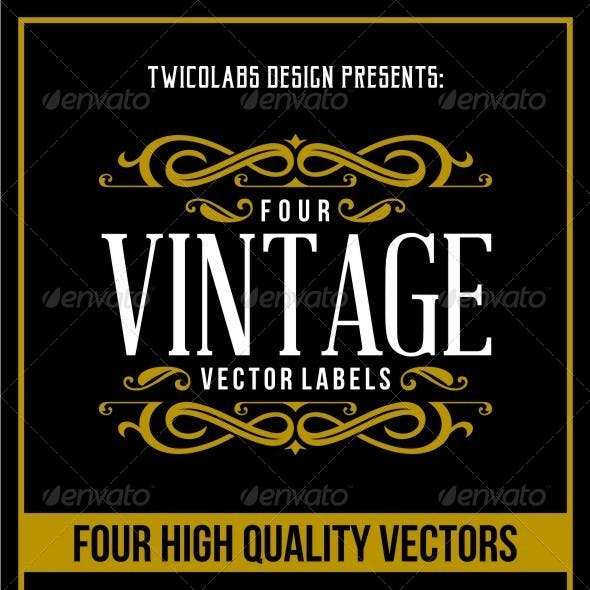4 Vintage Vector Labels