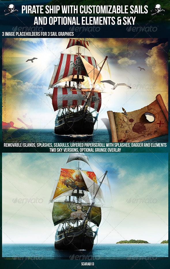 Customizable Pirate Ship with 3 Sail Image - Product Mock-Ups Graphics