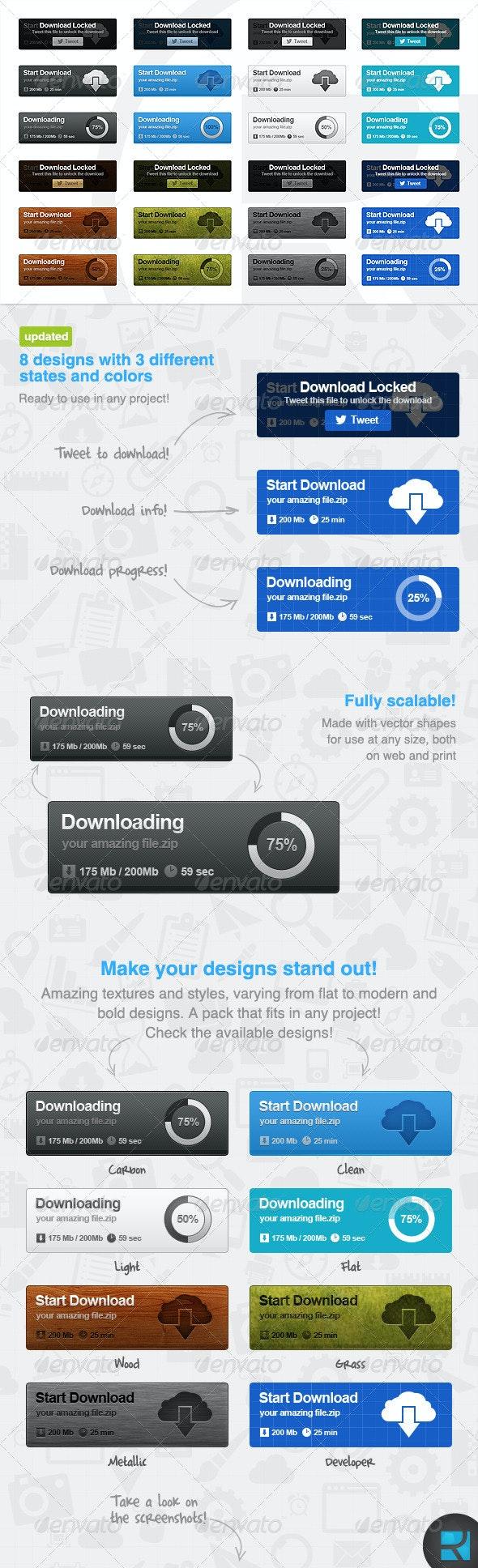 Download Buttons Set - Buttons Web Elements