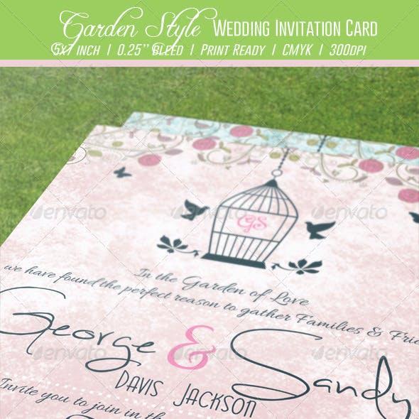 Garden Style Wedding Invitation Card