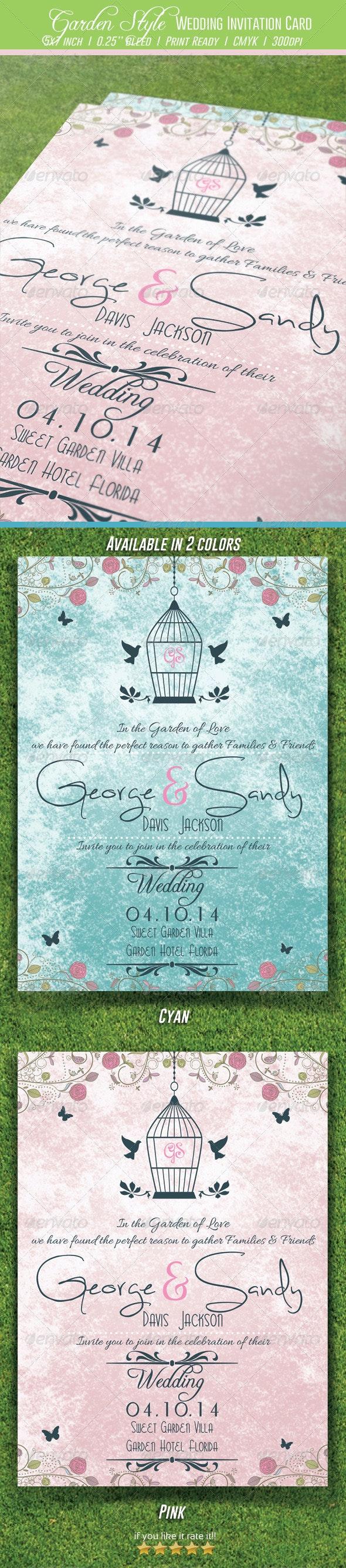 Garden Style Wedding Invitation Card - Weddings Cards & Invites