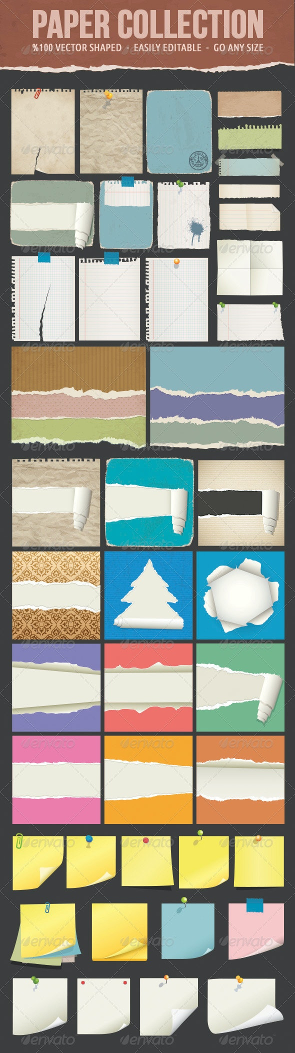 Ripped Papers and Post-it - Backgrounds Decorative