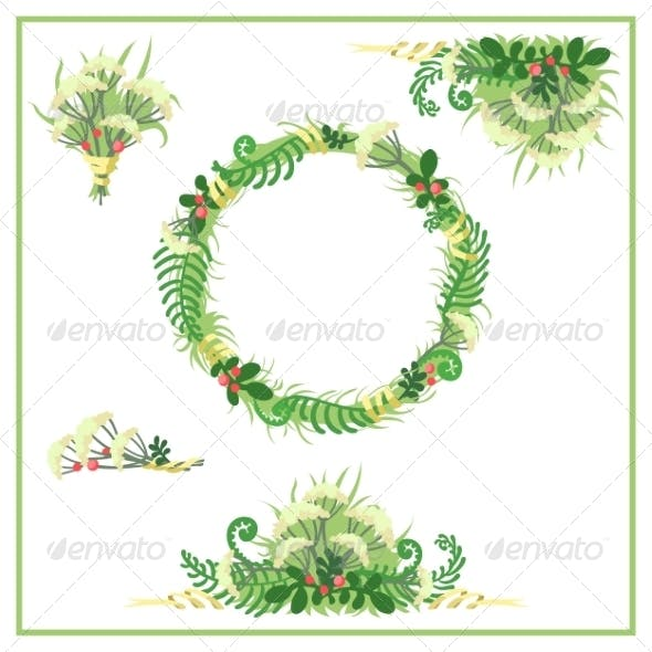 Hand-Drawn Graphic Floral Set of Fern and Berries
