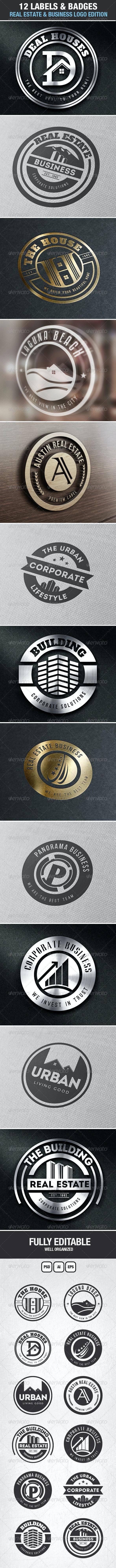 12 Real Estate & Business Labels & Badges Logos - Badges & Stickers Web Elements