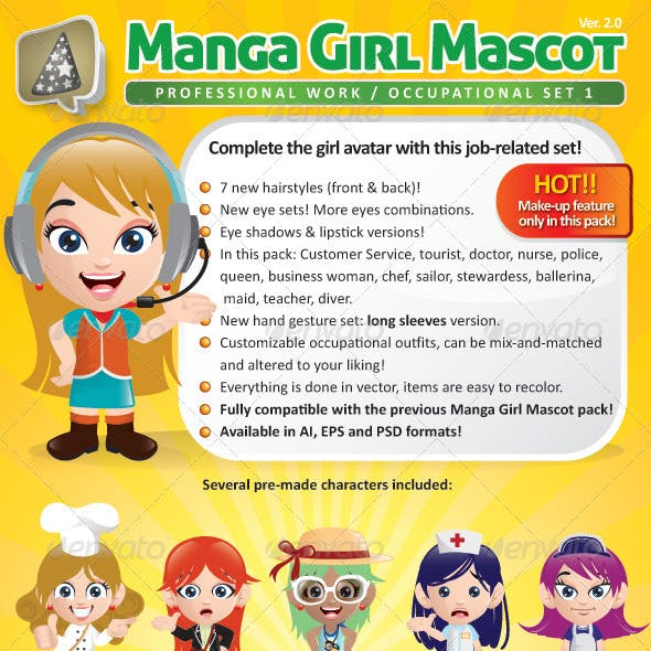 Manga Girl Mascot Creation Kit - Occupational Set