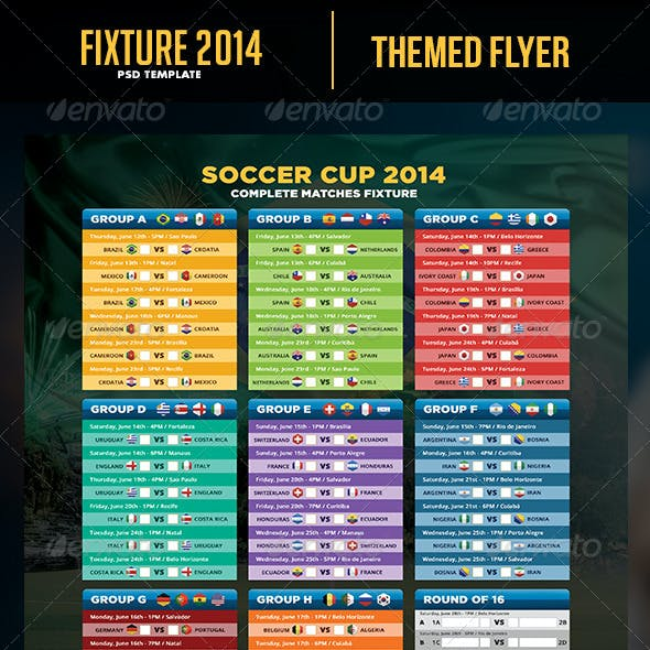 Soccer Cup 2014 Fixture - English and Spanish