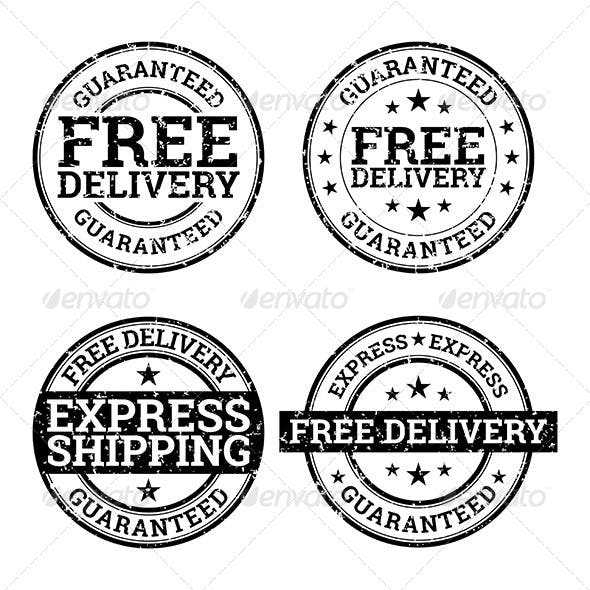 Free Delivery Black and White Stamps