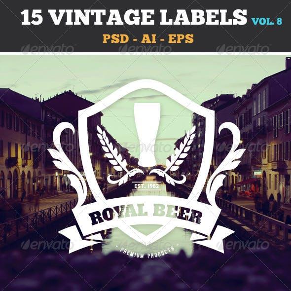 15 Retro Vintage Labels and Badges Logos V8