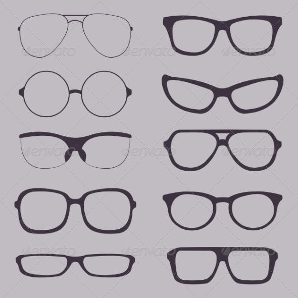 Set of Glasses Silhouettes