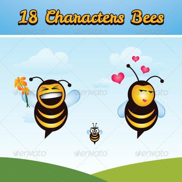 18 Bee Icon Set