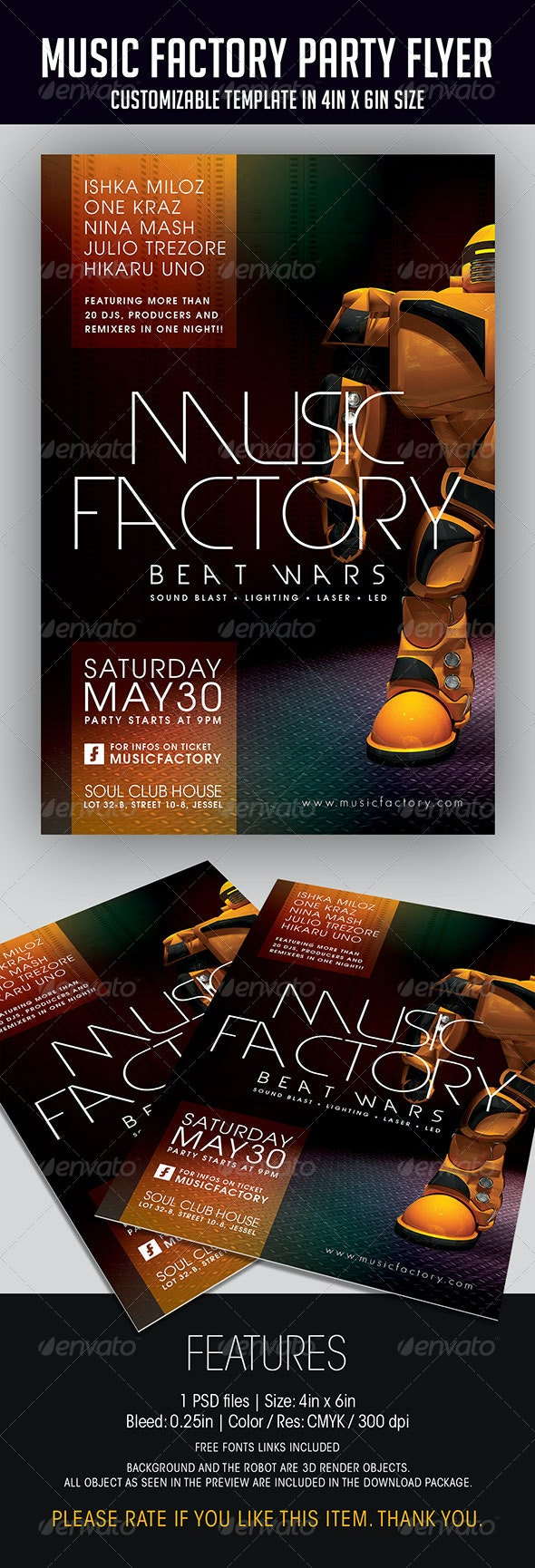 Music Factory Party Flyer - Clubs & Parties Events