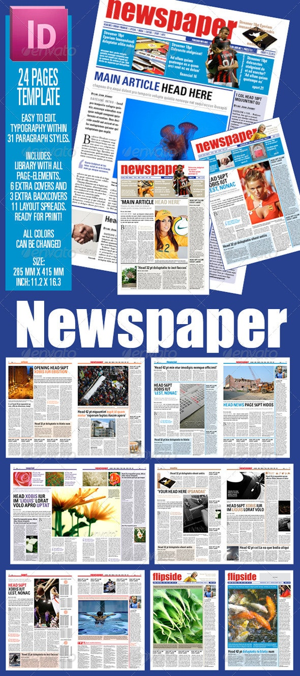 24 pages Newspaper Template - Newsletters Print Templates