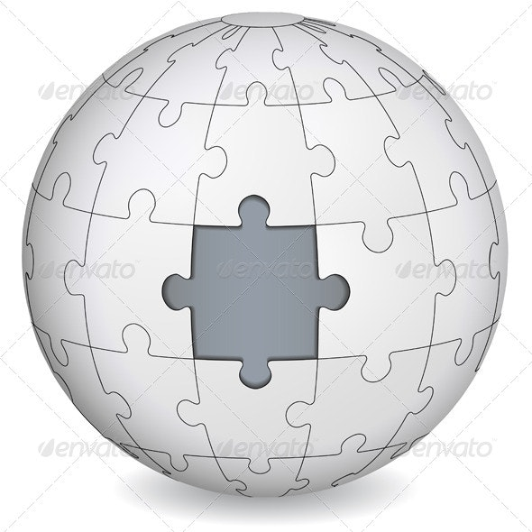 Puzzle Globe with Piece Missing - Concepts Business