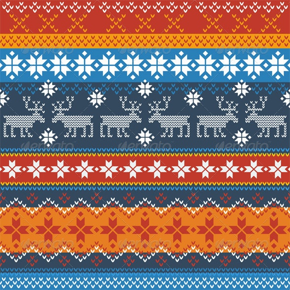 Traditional Norwegian Pattern with Reindeer - Patterns Decorative
