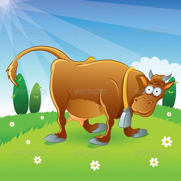 Cow Illustration Cartoon - Animals Characters