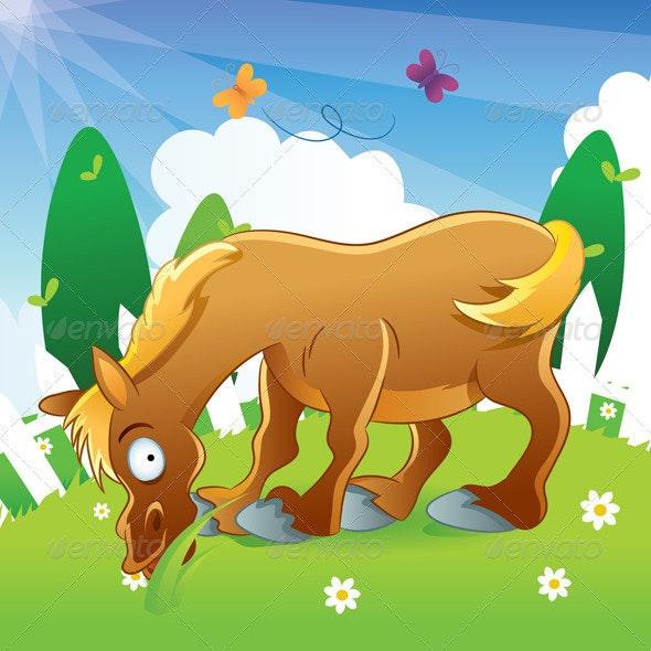 Horse Illustration Cartoon - Animals Characters