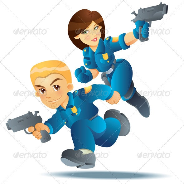 Police Officer in Action - People Characters