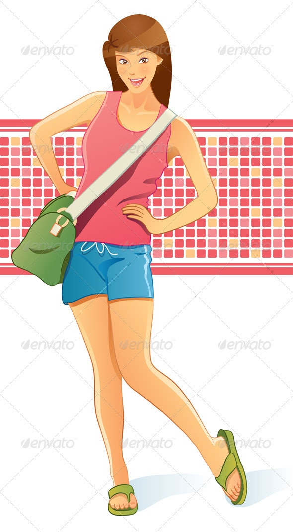 Travelling Girl with Bag - People Characters