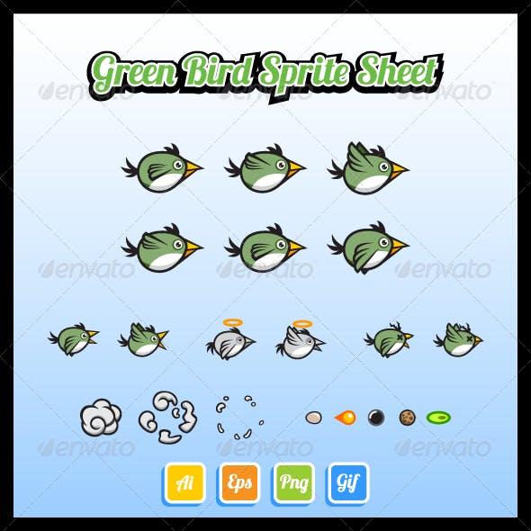Green Bird Sprite Sheet