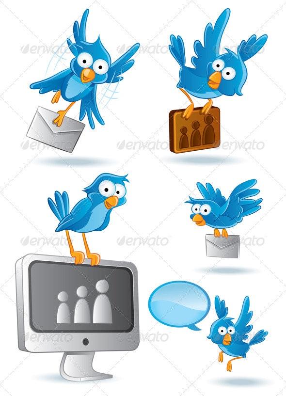 Social Media Network Bluebird Set - Communications Technology