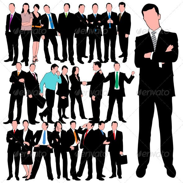 25 Business People Silhouettes Set