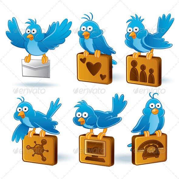 Social Media Network Bluebird Set