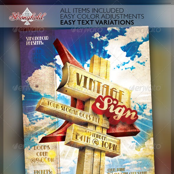 Vintage Motel Sign Event Flyer Template