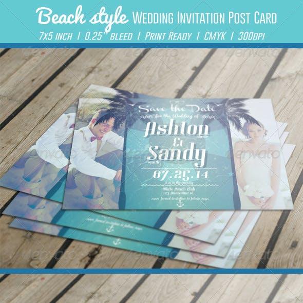 Beach Style Wedding Invitation Post Card