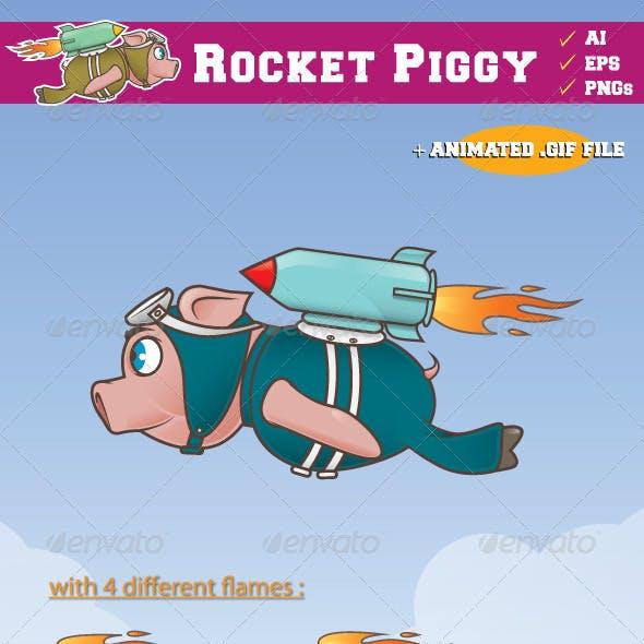 Rocket Piggy Flying