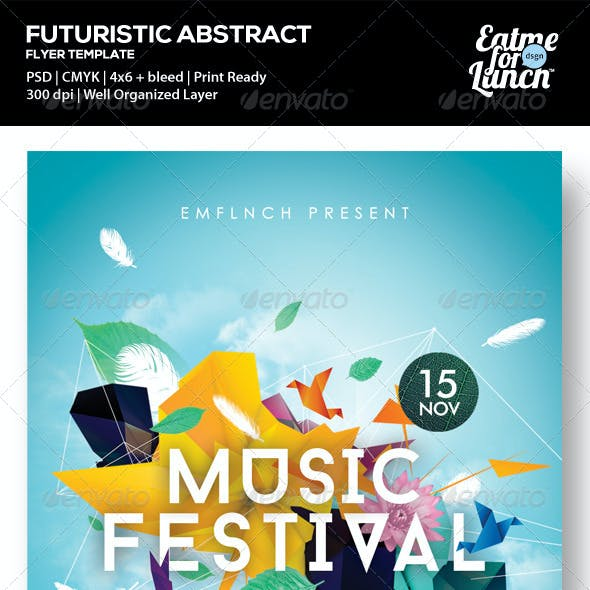 Futuristic Abstract Gigs/Festival Flyer Templates