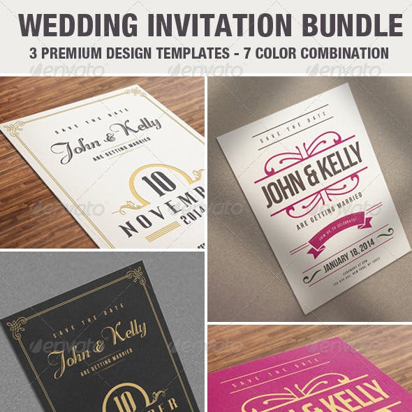 Elegant & Vintage Wedding Invitation / Card Bundle