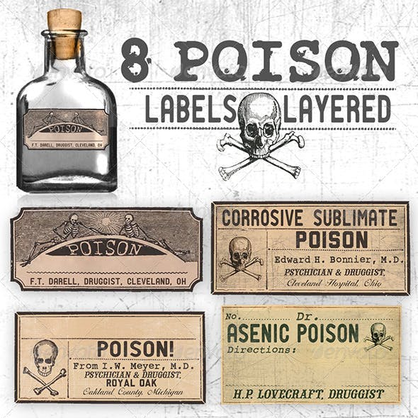 8 Editable, Layered Poison Labels