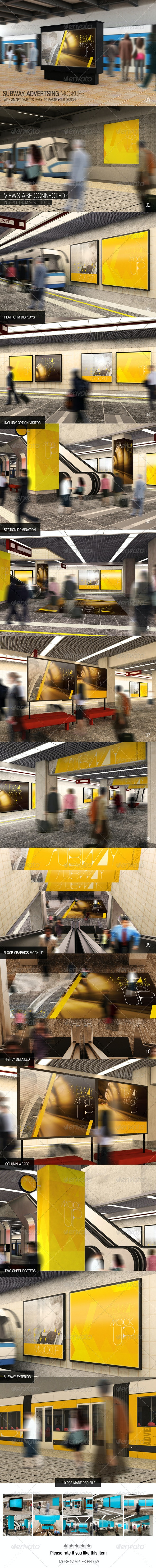 Subway Advertising Mockups - Displays Product Mock-Ups