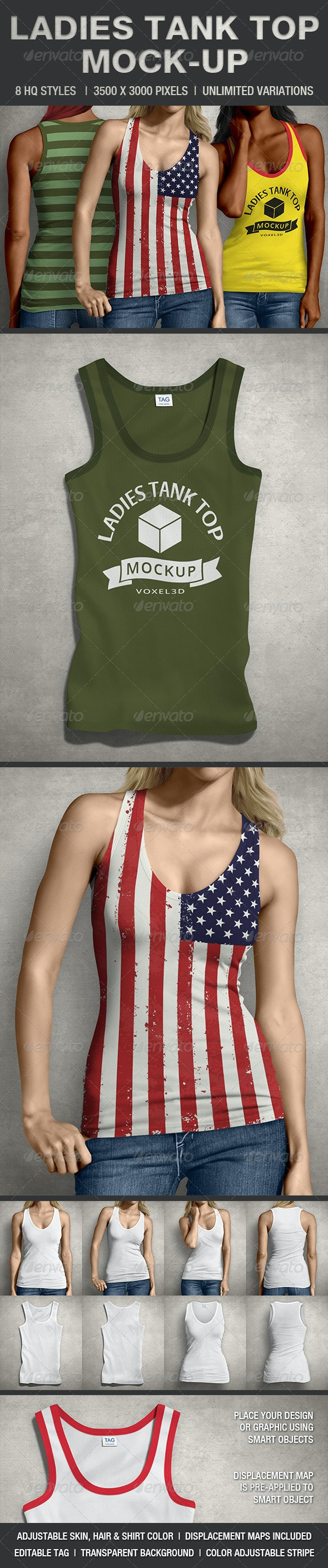 Ladies Tank Top Mock-up - T-shirts Apparel