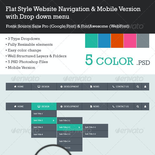 Flat Style Navigation Menu Bar