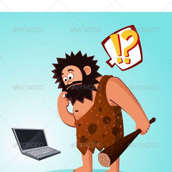 Caveman Found a Laptop