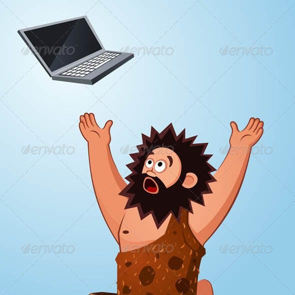 Caveman Worshiping a Laptop