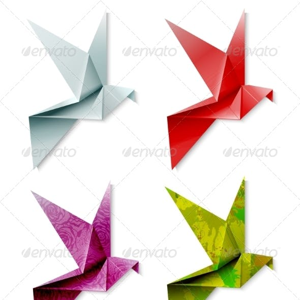 Set of Colorful Origami Birds