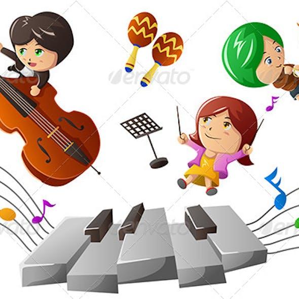 Kids Enjoying Playing Music