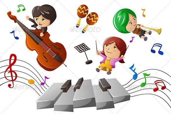 Kids Enjoying Playing Music - People Characters