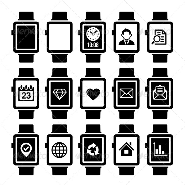 Smart Watch Icon Set.