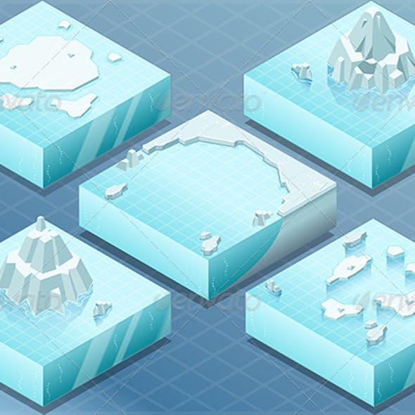 Isometric Arctic Sea with Iceberg